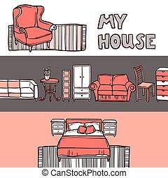 croquis, bannière, meubles