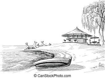 croquis, barre, rivage, vecteur, plage, bateau