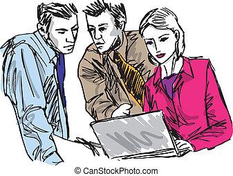 croquis, business, gens fonctionnement, réussi, bureau., ordinateur portable, illustration, vecteur
