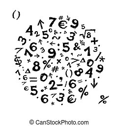 croquis, cadre, symboles, conception, ton, math