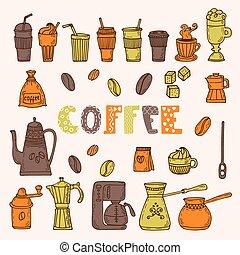 croquis, café, illustration., elements., collection, main, divers, temps, dessiné, doodles
