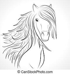 croquis, cheval, vecteur, white., tête, crinière