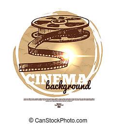 croquis, cinéma, vendange, illustration, main, film, dessiné, bannière