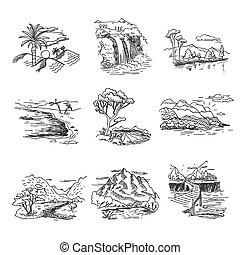croquis, collines, nature, griffonnage, illustration, main, chute eau, traite, forêt, mer, soleil, dessiné, rugueux, paysage