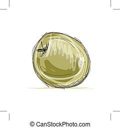croquis, conception, pomme, ton