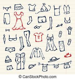 croquis, conception, ton, collection, vêtements