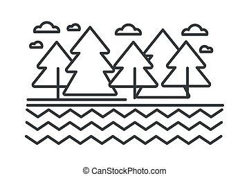 croquis, contour, arbres, forêt lac, sauvage, rivière, ou, paysage