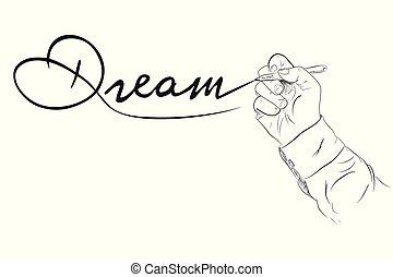 croquis, contour, sien, simple, skecthy, main, écriture, vecteur, rêve