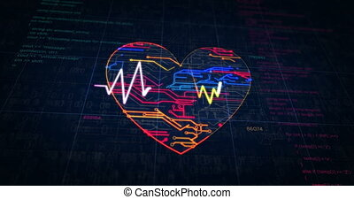 croquis, cyber, coeur, futuriste