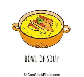 croquis, décoration, couleur, style, miso, légumes, bol, meat., soupe, dessin animé, légumes, délicieux, soup., menu, poulet, céramique, soupe