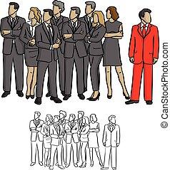 croquis, droit, groupe, professionnels, griffonnage, lignes, isolé, illustration, une, regarder, vecteur, arrière-plan noir, complet, dessiné, blanc, main, exceptez, rouges
