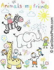croquis, enfants, vecteur, animaux, heureux