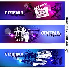 croquis, ensemble, cinéma, lumière, main, banners., effets, fond, film, illustrations, dessiné