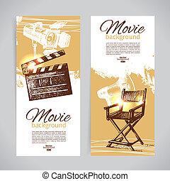 croquis, ensemble, cinéma, main, illustrations, dessiné, bannières