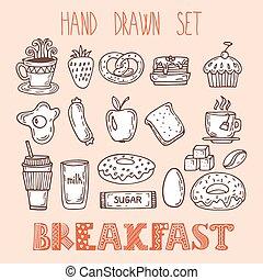 croquis, ensemble, elements., nourriture, collection, main, divers, doodles, dessiné, petit déjeuner