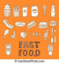 croquis, ensemble, elements., nourriture, collection, main, divers, jeûne, doodles, dessiné