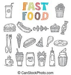 croquis, ensemble, nourriture, jeûne, nourriture., éléments, divers, collection, dessiné, doodles, main
