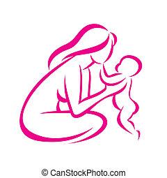 croquis, esquissé, symbole, stylisé, vecteur, maman, bébé