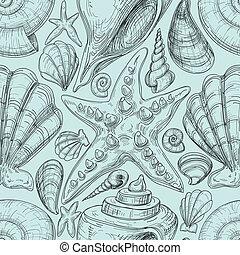 croquis, etoile mer, coquilles, modèle, seamless, plage