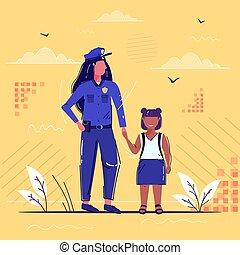 croquis, femelle africaine, droit & loi, entiers, girl, main, ensemble, debout, sécurité, américain, peu, officier, tenue, uniforme, police, femme-agent, service, justice, longueur, autorité, écolière, concept