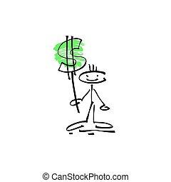 croquis, figure, dollar, main, crosse, humain, sourire, signe, dessin