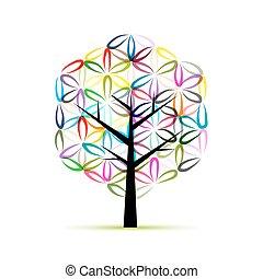 croquis, fleur, art, arbre, conception, life., ton