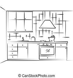 croquis, furniture., illustration, kitchen., vecteur, plan, cuisine