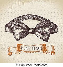 croquis, hommes, illustration, main, messieurs, accessory., dessiné
