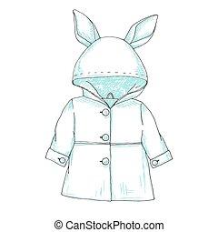 croquis, hood., imperméable, enfants, oreilles lapin