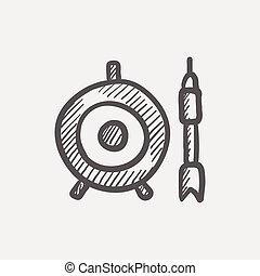 croquis, icône, cible, flèche, planche