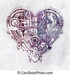 croquis, illustration, coeur, 3d