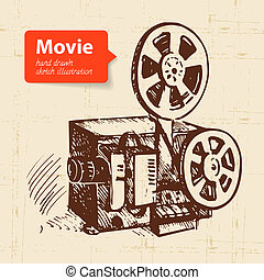 croquis, illustration., film, main, fond, dessiné