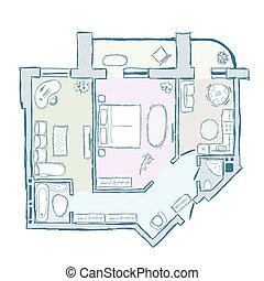 croquis, illustration, main, intérieur, vecteur, conception, appartement, dessiné