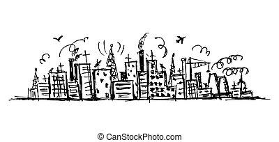 croquis, industriel, dessin, conception, cityscape, ton