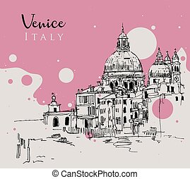 croquis, italie, dessin, venise, illustration