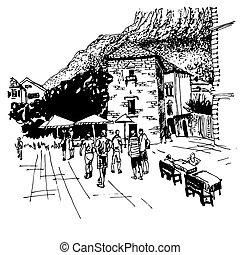 croquis, kotor, montenegro, -, célèbre, rue, endroit, dessin