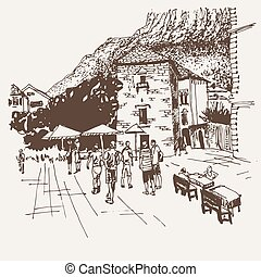 croquis, kotor, sépia, -, original, célèbre, rue, endroit, dessin