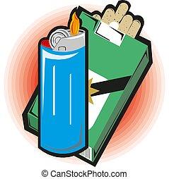 croquis, lighters., allumettes, vecteur, boîtes allumettes, fumer, accesories., dessin animé
