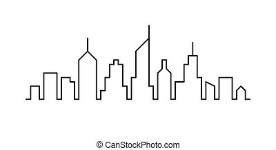 croquis, ligne, cityscape, conception