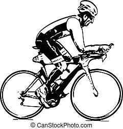 croquis, mâle, vélo