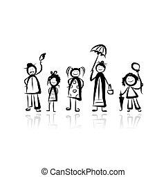 croquis, marche, conception, ton, famille