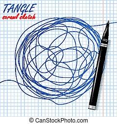 croquis, metaphor., résumé, forme., illustration, circle., scrawl, vector., enchevêtrement, gribouiller, dessin