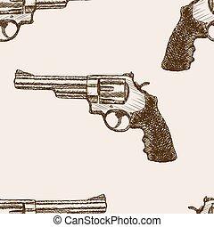 croquis, modèle, revolver, seamless, vecteur, pistolet