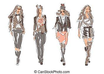 croquis, mode, femmes