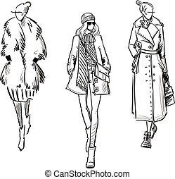 croquis, mode, hiver, illustration, coat., vecteur