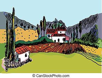 croquis, nature, ferme, -, maisons, paysage