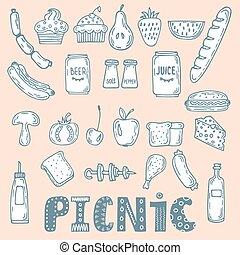 croquis, pique-nique, elements., nourriture, collection, main, divers, illustration, doodles, dessiné