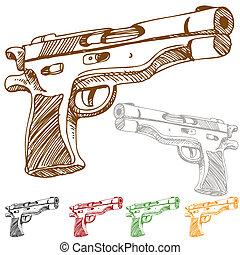 croquis, pistolet