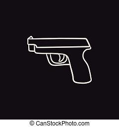 croquis, pistolet, icon.