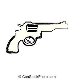 croquis, pistolet, isolé